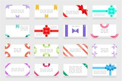 Letter envelope set greeting card paper gift bows ribbons flat design abstract vector illustration Royalty Free Stock Images