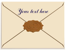 Letter envelope with a stamp wax as e-mail sign. Illustration royalty free illustration