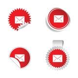Letter envelope sticker red  Stock Photo