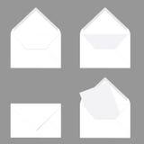 Letter envelope in white color illustration on grey. Background Stock Photos