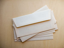 Letter envelope on wood table Royalty Free Stock Images