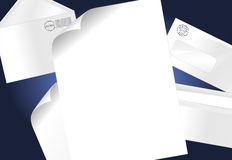 Letter and Envelopes. Background with stamped envelopes and a blank paper Stock Photography