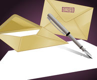 Letter and Envelopes. Background with stamped envelopes and a blank paper Royalty Free Stock Photo