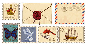 Letter envelopes and post stamps set. Vector illustration of letter envelopes and postmarks set. Cover with wax seal, air mail, crown, butterfly, dove, koi fish Stock Image