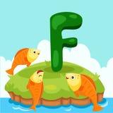 Letter'F的以图例解释者是为Fish 库存例证