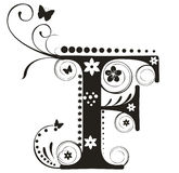Letter F. Decorative letter with flowers for design royalty free illustration