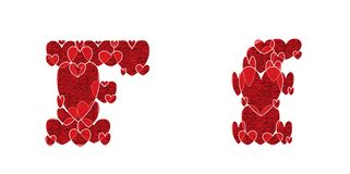 Letter F of alphabet made from hearts. Letter F, uppercase and lowercase of alphabet made from hearts Stock Photo