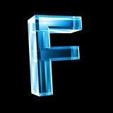 Letter F in blue glass 3D Royalty Free Stock Photos