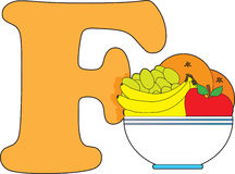 Letter F with a Bowl of Fruit Stock Image