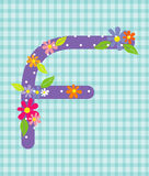 The letter F Bright floral element of colorful alphabet in  Royalty Free Stock Image