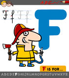 Letter f with cartoon fireman Stock Photography
