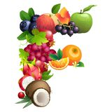 Letter F composed of different fruits with leaves Stock Photo