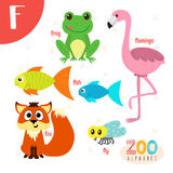 Letter F. Cute animals. Funny cartoon animals in vector.