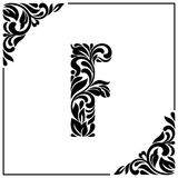 The letter F. Decorative Font with swirls and floral elements. Vintage style.  Royalty Free Stock Photos