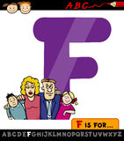Letter f with family cartoon illustration Stock Photography