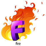 A letter F for fire. Illustration of a letter F for fire on a white background Stock Photography