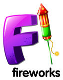 A letter F for fireworks. Illustration of a letter F for fireworks on a white background Stock Images