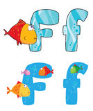 Letter F fish. Illustration of a letter F fish Royalty Free Stock Photography