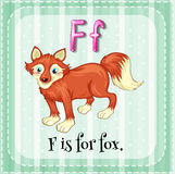Letter F. Flashcard letter F is for fox vector illustration