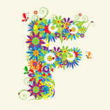 Letter F, floral design Stock Photography