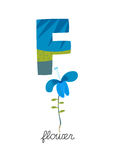 Letter F. Is for Flower. These ABC illustrations with associated picture are perfect for postcards and interior decoration Royalty Free Stock Images