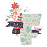 Letter F with flowers. Decorative letter with floral pattern Stock Image