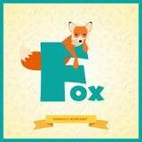 Letter F and fox. Royalty Free Stock Images