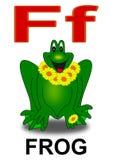 Letter F frog. Alphabet school children frog letter illustration stock illustration