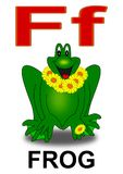 Letter F frog. Alphabet school children frog letter illustration Royalty Free Stock Photography