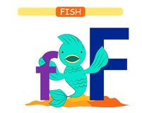 Letter F and funny cartoon fish. Animals alphabet a-z. Cute zoo alphabet in vector for kids learning English vocabulary. Printabl vector illustration