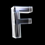Letter F in glass 3D Royalty Free Stock Images