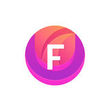 Letter F logo abstract circle shape element. Vector round compan Stock Image