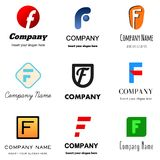 Letter F logo. Set of alphabetical Logo Design with different moods and Concepts - Letter F Stock Images