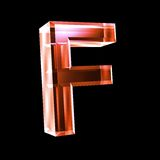 Letter F in red glass 3D Stock Images