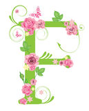Letter F with roses Royalty Free Stock Images