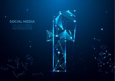 Letter F sign form lines and triangles, point connecting network on blue background. Polygonal wireframe mesh art, poly low vector illustration