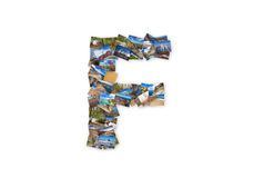 Letter F uppercase font shape alphabet collage made of my best l vector illustration