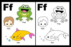 Letter F worksheet. Alphabet letter F with colorful cliparts and coloring graphics children worksheet Royalty Free Stock Image