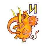 Letter of Fantasy Cyrillic Alphabet - Azbuka with cartoon elephant mammoth. Letter with funny cartoon style orange elephant mammoth from fairytale for Fantasy Royalty Free Stock Photo