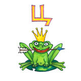Letter for Fantasy Cyrillic Alphabet - Azbuka with cute frog the Queen Stock Photography