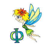 Letter for Fantasy Cyrillic Alphabet - Azbuka with fairy tinkerbell. Letter with cartoon fairy tinkerbell for Fantasy Cyrillic Alphabet - Azbuka Royalty Free Stock Photography