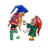 Letter for Fantasy Cyrillic Alphabet - Azbuka with two dwarfs Stock Photography