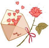 Letter filled with hearts and a rose Stock Photo