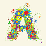 Letter A, floral design. See also letters in my gallery Royalty Free Stock Photography