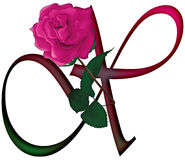 Letter X Floral FONT. LETTER X - Cute pink rose decorated colorful  font with additional PNG  format with trandsparent background Stock Photography