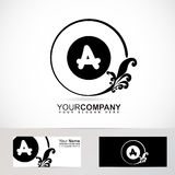 Letter A floral logo black and white Royalty Free Stock Image