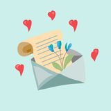 Letter with a flower Stock Photos