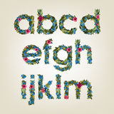 Letter. Flower  alphabet. Colorful font Royalty Free Stock Photos