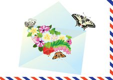 Letter, flowers and butterflies Royalty Free Stock Photos