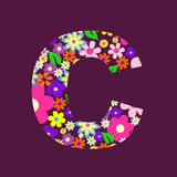 Letter of flowers C Royalty Free Stock Image